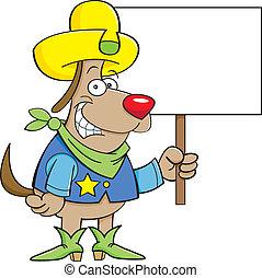 vaquero, perro, con, un, señal