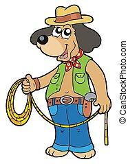 vaquero, perro, lazo