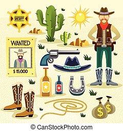 vaquero, plano, conjunto, occidental, iconos