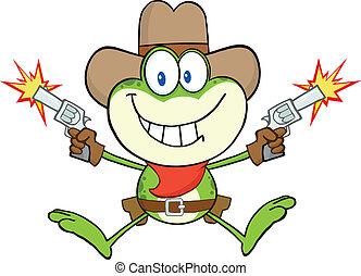 vaquero, rana, disparando, con, dos, armas de fuego