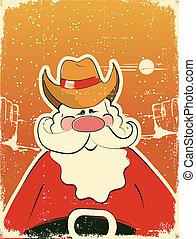 vaquero, .retro, claus, santa sombrero, tarjeta