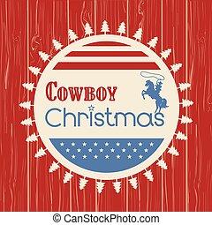 vaquero, saludo, norteamericano, madera, tabla, tarjeta de navidad