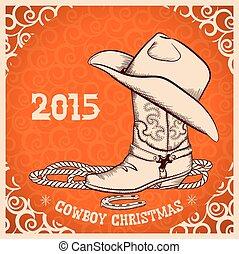 vaquero, saludo, objetos, occidental, año, nuevo, tarjeta