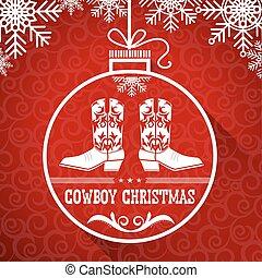 vaquero, texto, ball., rojo, tarjeta de navidad