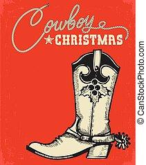 vaquero, texto, bota, occidental, tarjeta de navidad, rojo