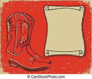 vaquero, texto, botas, papel, plano de fondo, rúbrica