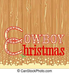 vaquero, texto, textura, madera, plano de fondo, navidad
