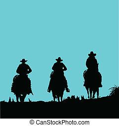 vaquero, tres, vector, siluetas