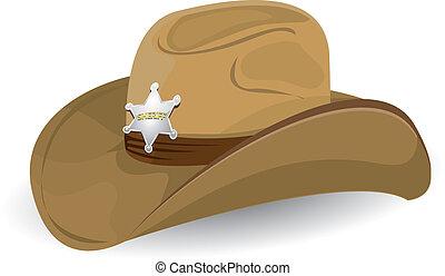 vaquero, vector, illustration., hat.
