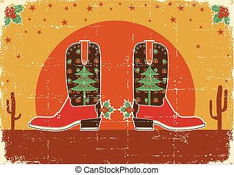 vaquero, vendimia, botas, decoración, feriado, tarjeta de...