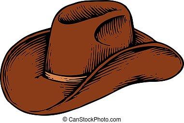 vaquero, vendimia, -, ilustración, grabado, vector, (hand, dibujado, style), sombrero
