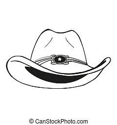 vaquero, vendimia, -, ilustración, grabado, vector, sombrero