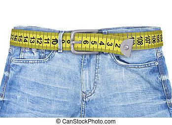 vaqueros, con, metro, cinturón, slimming