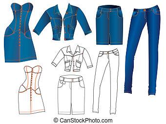 vaqueros, ropa, en, white.vector