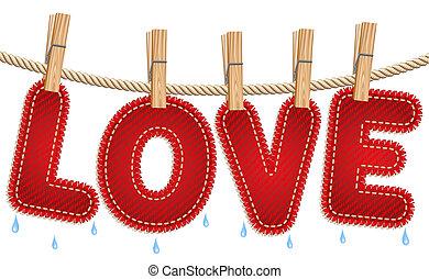 vaqueros, secado, amor, clothesline