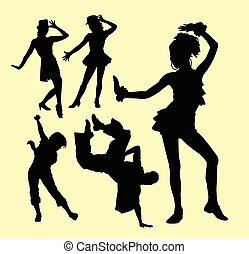 varázs, hím, árnykép, női, tánc