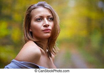 Varázslat, nő, külső,  closeup, fiatal