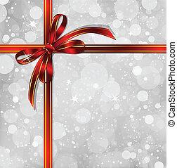 varázslatos, íj, háttér., vektor, karácsony, piros