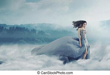 varázslatos, barna nő, hölgy, képben látható, egy, ködös, mező
