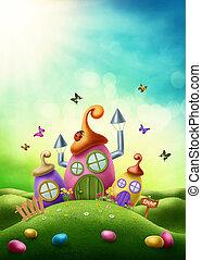varázslatos, húsvét, épület