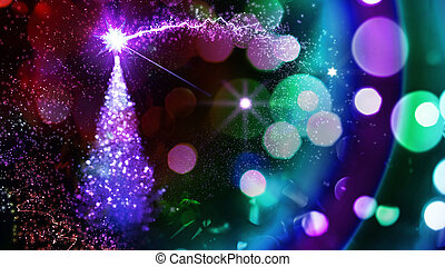 varázslatos, karácsony, fa.