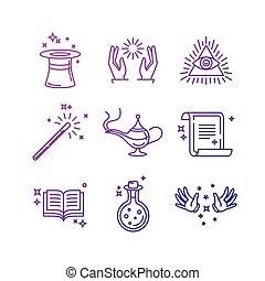varázslatos, lineáris, ikonok, kapcsolódó, vektor, cégtábla