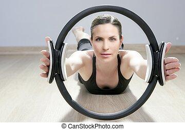 varázslatos, pilates, karika, nő, aerobic, sport, tornaterem