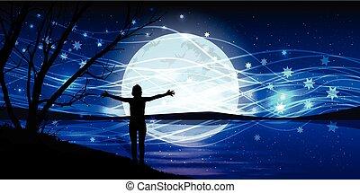 varázslatos, sky., kitágít, kézbesít, hold, éjszaka, ember