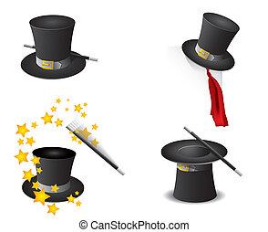 varázslatos, vektor, kalap