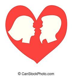 varón y hembra, besar, icon., romántico, señal, de, un,...