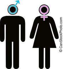varón y hembra, señales, en, pictogram