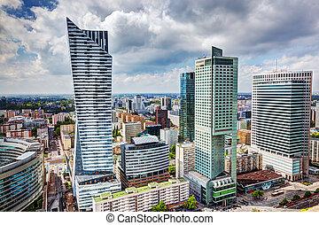 varšava, city center, povolání, mrakodrapy, poland., v centru města