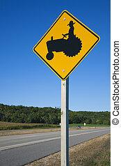 vara, careful!, bönder, på, tractors!