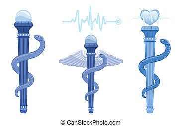 vara, de, asclepius, e, caduceus, -, símbolo médico