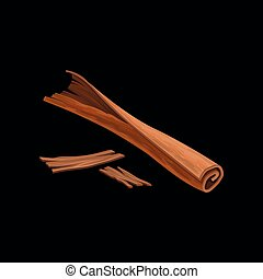 vara, de, canela, perfumado, tempero, vetorial, ilustração, ligado, um, fundo branco