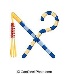 vara, e, chicote, egípcio, antiga, símbolos, de, poder, vetorial, ilustração