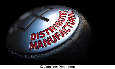 vara engrenagem, com, vermelho, texto, distributed, fabricando