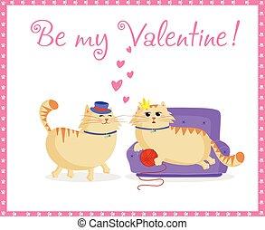 vara, kärlek, söt, hälsning, valentinbrev, katter, min, kort