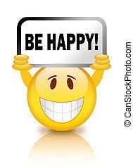 vara, lycklig, smiley