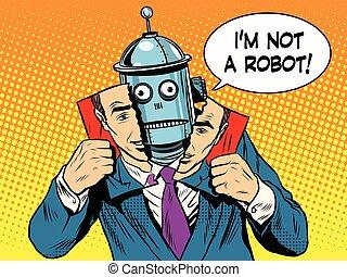 vara, mänsklig, intelligens, robot, konstgjort, hyckleri