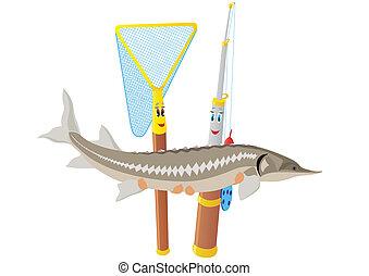 vara, pesca líquida, esturjão