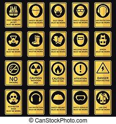 vara, slitet, utrustning, hälsa, säkerhet, signs., must