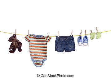 varal, roupa, bebê, penduradas