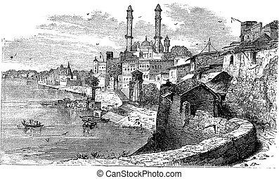 Varanasi or Banares or Banaras, in Uttar Pradesh, India, during the 1890s, vintage engraving. Old engraved illustration of Varanasi.