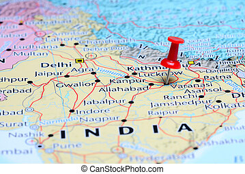 Varanasi pinned on a map of Asia