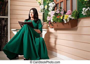 varanda, mulher, livro, leitura