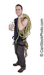 varappeur, à, équipement, inclure, corde, harnais, et, casque