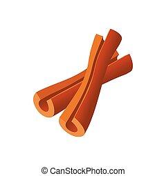 varas canela, ícone, caricatura, estilo