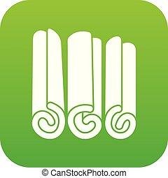 varas canela, ícone, digital, verde