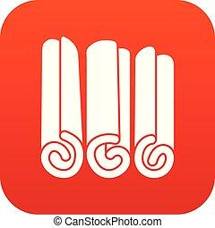 varas canela, ícone, digital, vermelho